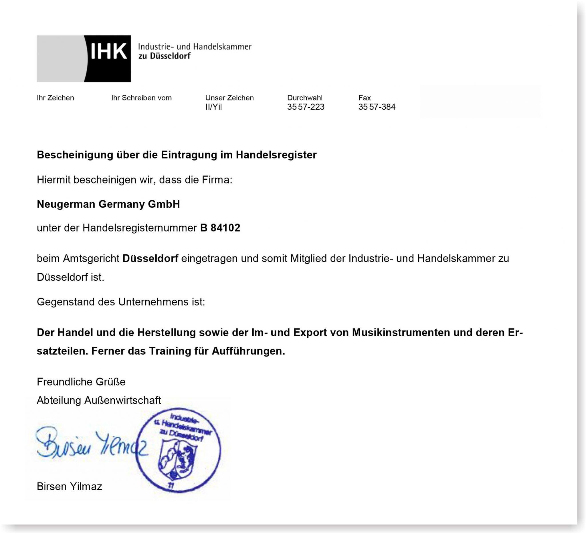 德国工商会IHK证明