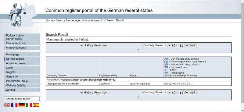 德国联邦工商登记网站