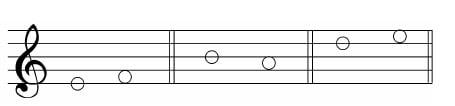 谱例5:a.线到间