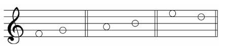 谱例5:b.间到线
