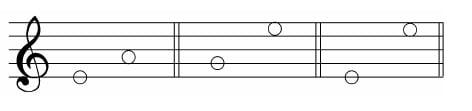 谱例7:a.线到间